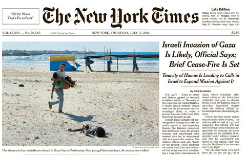Cover of the New York Times, July 17, 2014. Photo Credit: Tyler Hicks